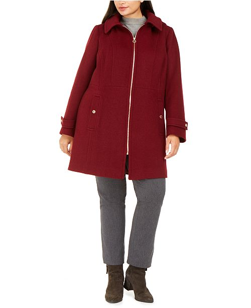 Michael Kors Plus Size Hooded Stand-Collar Coat, Created For Macy's