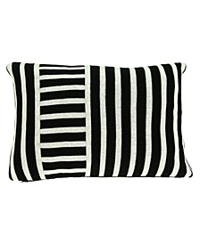 Essex Transitional Black Pillow Cover With Down Insert