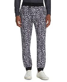 Tallia Men's Tapered Stretch Leopard Print Joggers