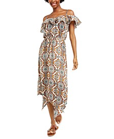 Juniors' Ruffled Cold-Shoulder Maxi Dress