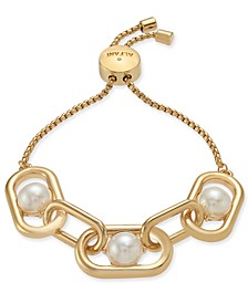 Gold-Tone Large Link & Imitation Pearl Slider Bracelet, Created For Macy's