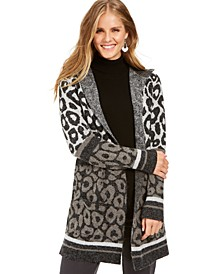 Petite Leopard-Print Open-Front Cardigan, Created For Macy's