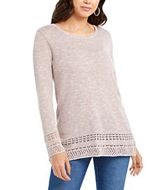 Petite Pointelle-Trim Sweater, Created For Macy's