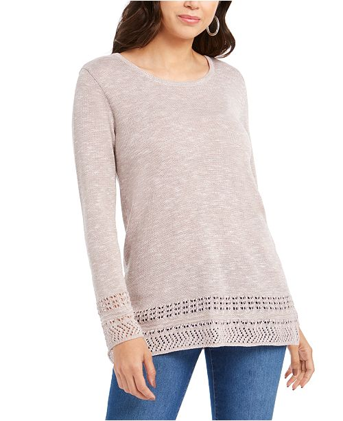 Style & Co Petite Pointelle-Trim Sweater, Created For Macy's