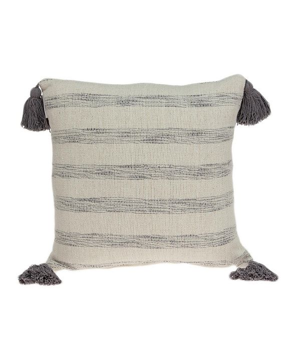 Parkland Collection Seema Transitional Beige Printed Striped Tassel Pillow Cover With Down Insert