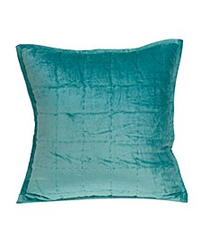 Gorty Transitional Aqua Solid Quilted Pillow Cover