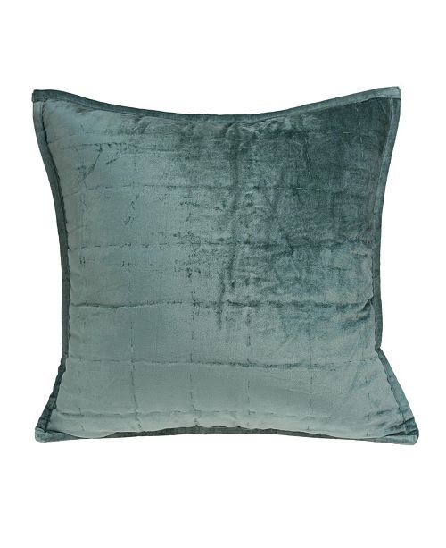 Parkland Collection Tusha Transitional Sea Foam Solid Quilted Pillow Cover with Polyester Insert