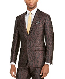 Orange Men's Slim-Fit Leopard-Print Suit Jacket