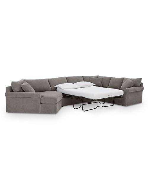 Peachy Wedport 3 Pc Fabric Sofa With Armless Full Sleeper And Cuddler Created For Macys Uwap Interior Chair Design Uwaporg