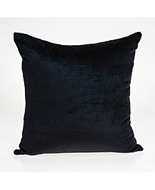 Spano Transitional Black Solid Pillow Cover With Down Insert