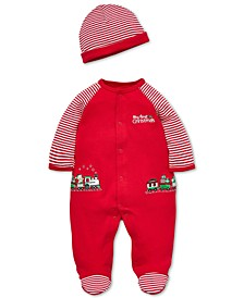 Baby Boys Cotton Train Footed Coverall & Hat