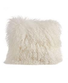 "Wool Mongolian Lamb Fur Throw Pillow, 16"" x 16"""