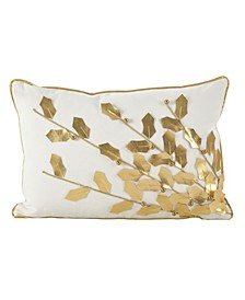 "Metallic Poinsettia Branch Design Holiday Cotton Polyester Filled Throw Pillow, 12"" x 18"""