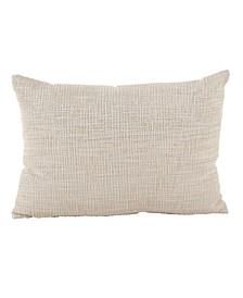 """Woven Metallic Design Lurex Cotton Throw Pillow, 14"""" x 20"""""""