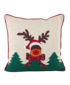 "Christmas Reindeer Applique Design Accent Polyester Filled Throw Pillow, 18"" x 18"""