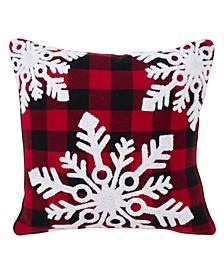 """Buffalo Plaid Snowflake Design Cotton Pillow, 18"""" x 18"""""""