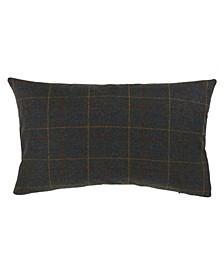 """Wool Blend Plaid Design Throw Pillow, 12"""" x 20"""""""