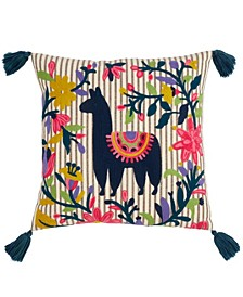 """Embroidered Llama Polyester Filled Throw Pillow, 18"""" x 18"""""""