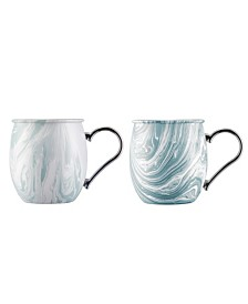 Cambridge Blue Marble Moscow Mule Mug - Set of 2
