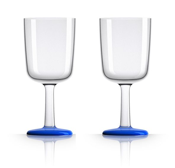 Marc Newson by Palm Tritan Wine Glass with Klein Blue non-slip base, Set of 2