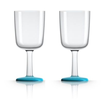 by Palm Tritan Forever-Unbreakable Wine Glass with Vivid Blue non-slip base, Set of 2