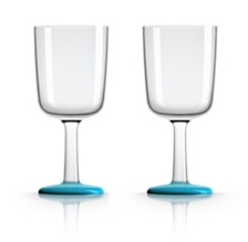Marc Newson by Palm Tritan Wine Glass with Vivid Blue non-slip base, Set of 2