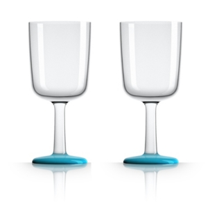 Marc Newson by Palm Tritan Wine Glass with Vivid Blue non-slip base, Set of 2