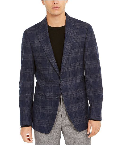 Calvin Klein Men's Slim-Fit Windowpane Plaid Wool Sport Coat
