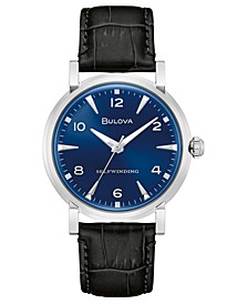 LIMITED EDITION Automatic American Clipper Black Leather Strap Watch 39mm, Created for Macy's