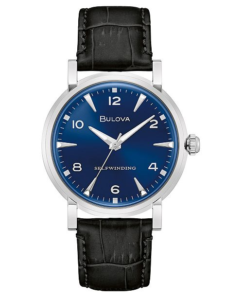 Bulova LIMITED EDITION Automatic American Clipper Black Leather Strap Watch 39mm, Created for Macy's