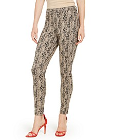 Python-Print High-Waisted Denim Leggings