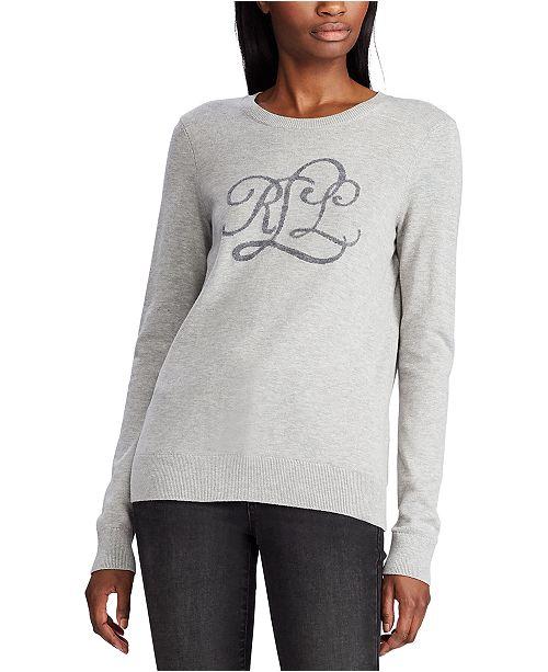 Lauren Ralph Lauren Petite Intarsia-Knit Logo Sweater
