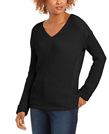 Cotton Textured V-Neck Sweater, Created For Macy's