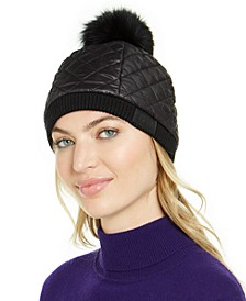 Quilted All Weather Hat with Fur Pom
