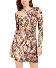 Shasti Snake-Print Cutout Dress