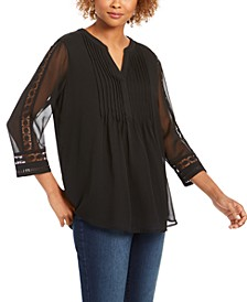 Petite Sheer-Sleeve Pintuck Top, Created For Macy's