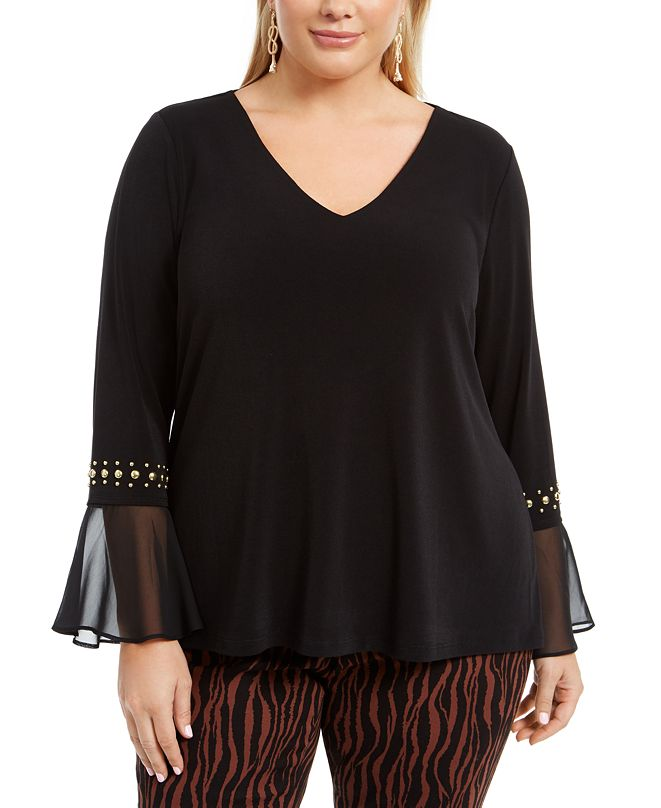 INC International Concepts INC Plus Size Studded Bell-Sleeve Top, Created for Macy's