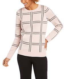 Petite Plaid Knit Sweater, Created For Macy's