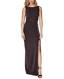 Metallic-Stripe Slit Gown