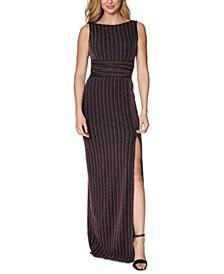 Metallic-Stripe Slit Gown