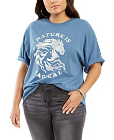 Trendy Plus Size Cotton Nature Is Magical Boyfriend T-Shirt