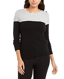 Metallic Colorblocked Crewneck Sweater, Created For Macy's
