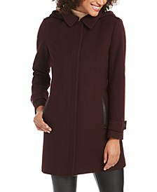 Faux-Leather-Trim Hooded Coat