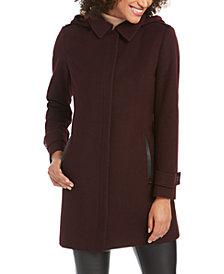 Michael Michael Kors Faux-Leather-Trim Hooded Coat