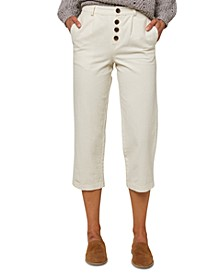 Juniors' Button-Front Cropped Pants