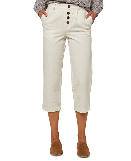O'Neill Juniors' Button-Front Cropped Pants