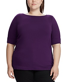 Plus Size Stretch Boatneck T-Shirt