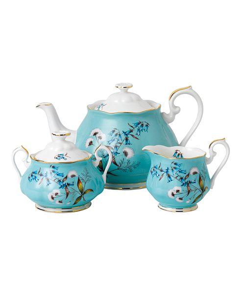Royal Albert 100 Years 1950 3-Piece Set, Teapot Sugar & Creamer- Festival