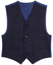 Big Boys Stretch Sporadic Windowpane Plaid Suit Vest