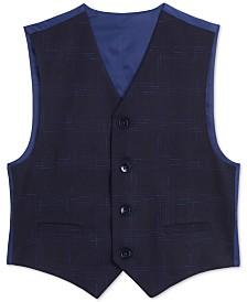 Calvin Klein Big Boys Stretch Sporadic Windowpane Plaid Suit Vest